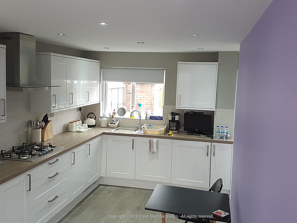 kitchen renovated by decorators in birmingham